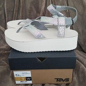 Never worn Teva Iridescent Flatform Sandals